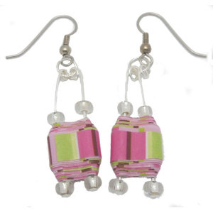 Pink Double Hole Paper Bead Earrings