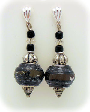 Black Pandora Style Paper Bead Earrings