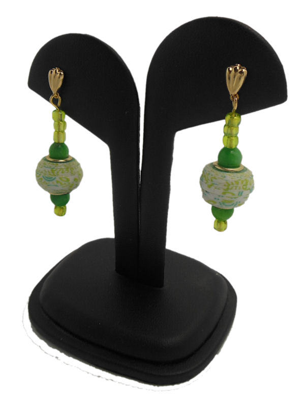 Green Pandora Style Paper Bead Earrings